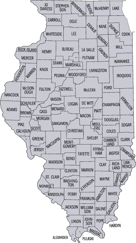 county maps of illinois. County Map of Illinois: