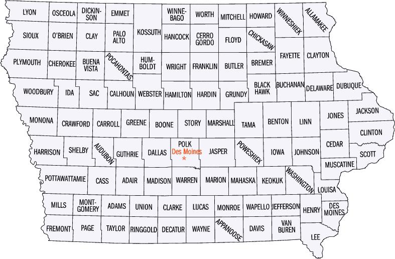 map of iowa counties. County Map of Iowa: