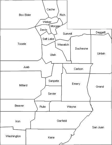 Utah Map Of Utah Counties on